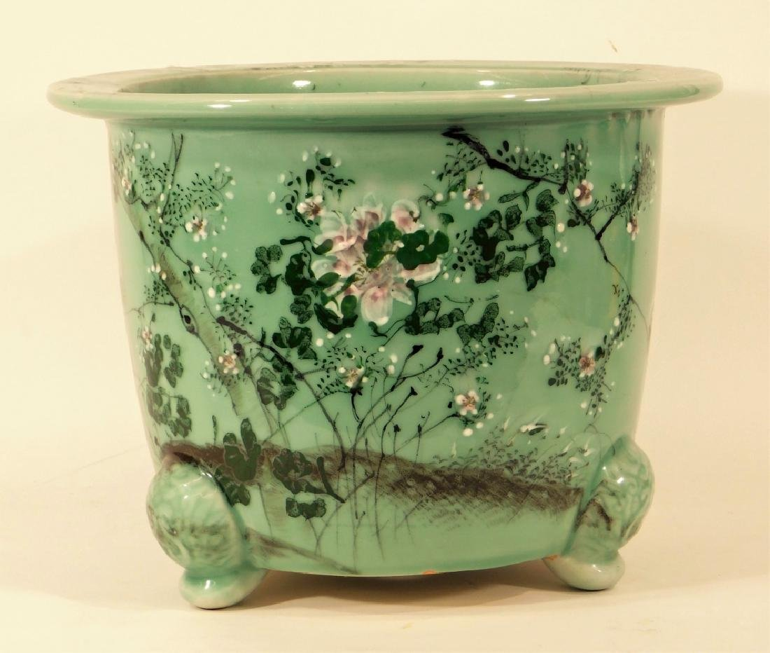 Chinese Celadon Glazed Porcelain Footed Jardiniere