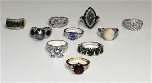 10PC Sterling Silver  Precious Stone Ladys Rings
