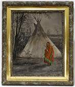 19C American O/C Landscape Painting of an Indian