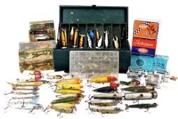 75 Antique Fishing Lure Reel Tackle Box Collection