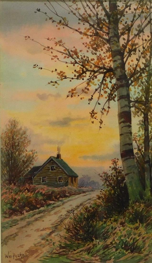 William Paskell Autumn Cabin Landscape Painting