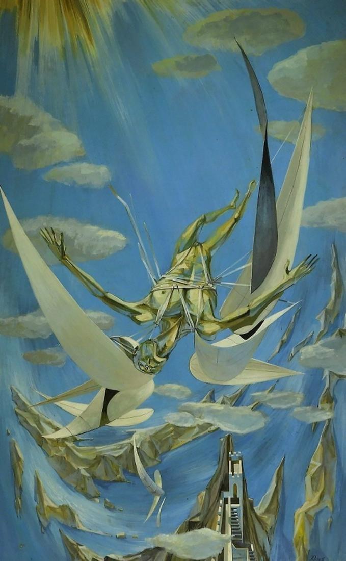 Robert Davison Fall of Icarus Surrealist Painting