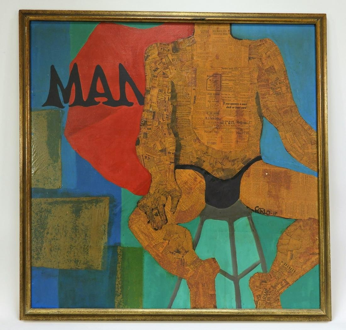 MCM Carlo Newspaper Mixed Media Male Nude Painting