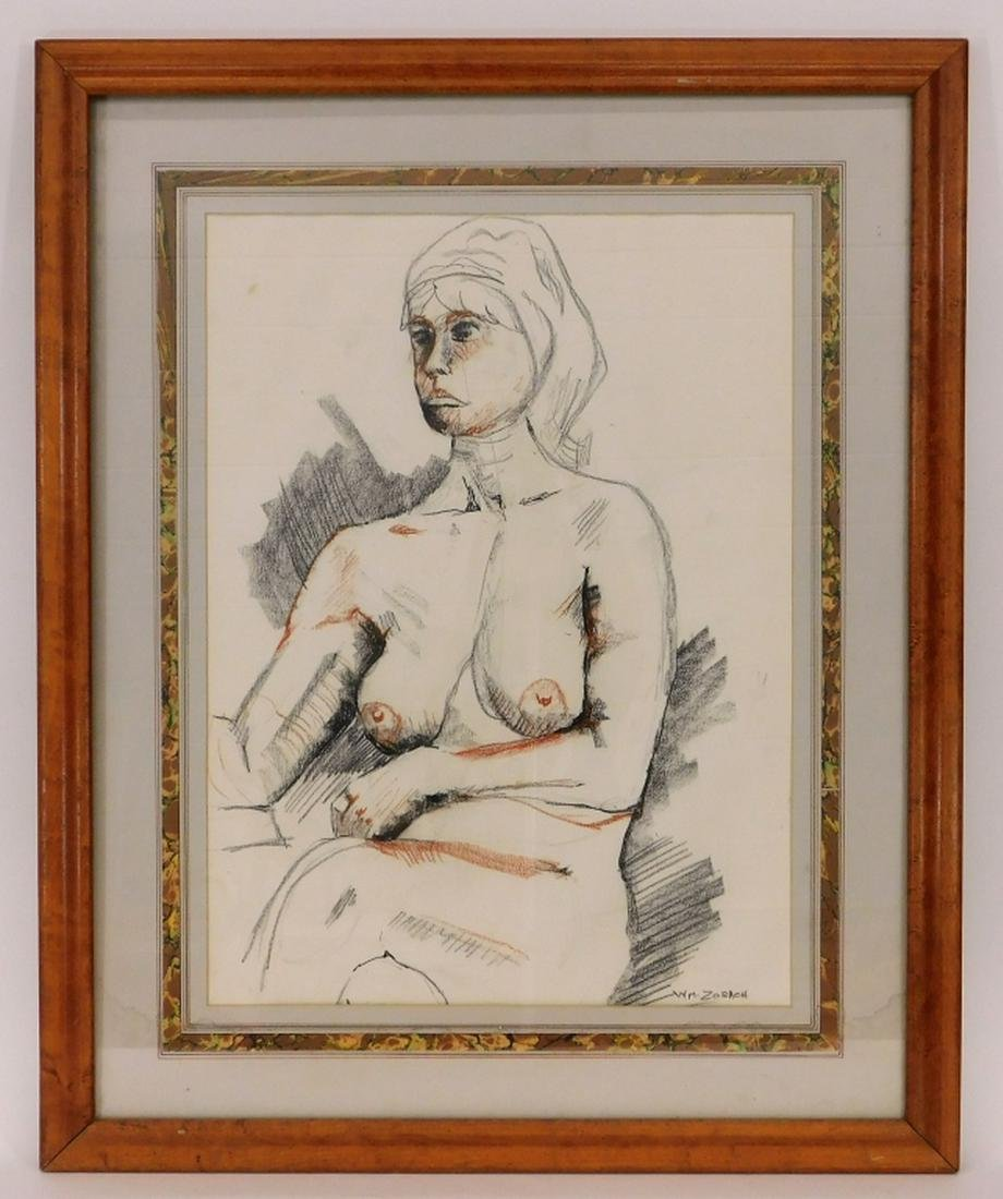 Attrib. William Zorach Study Drawing of Nude Woman