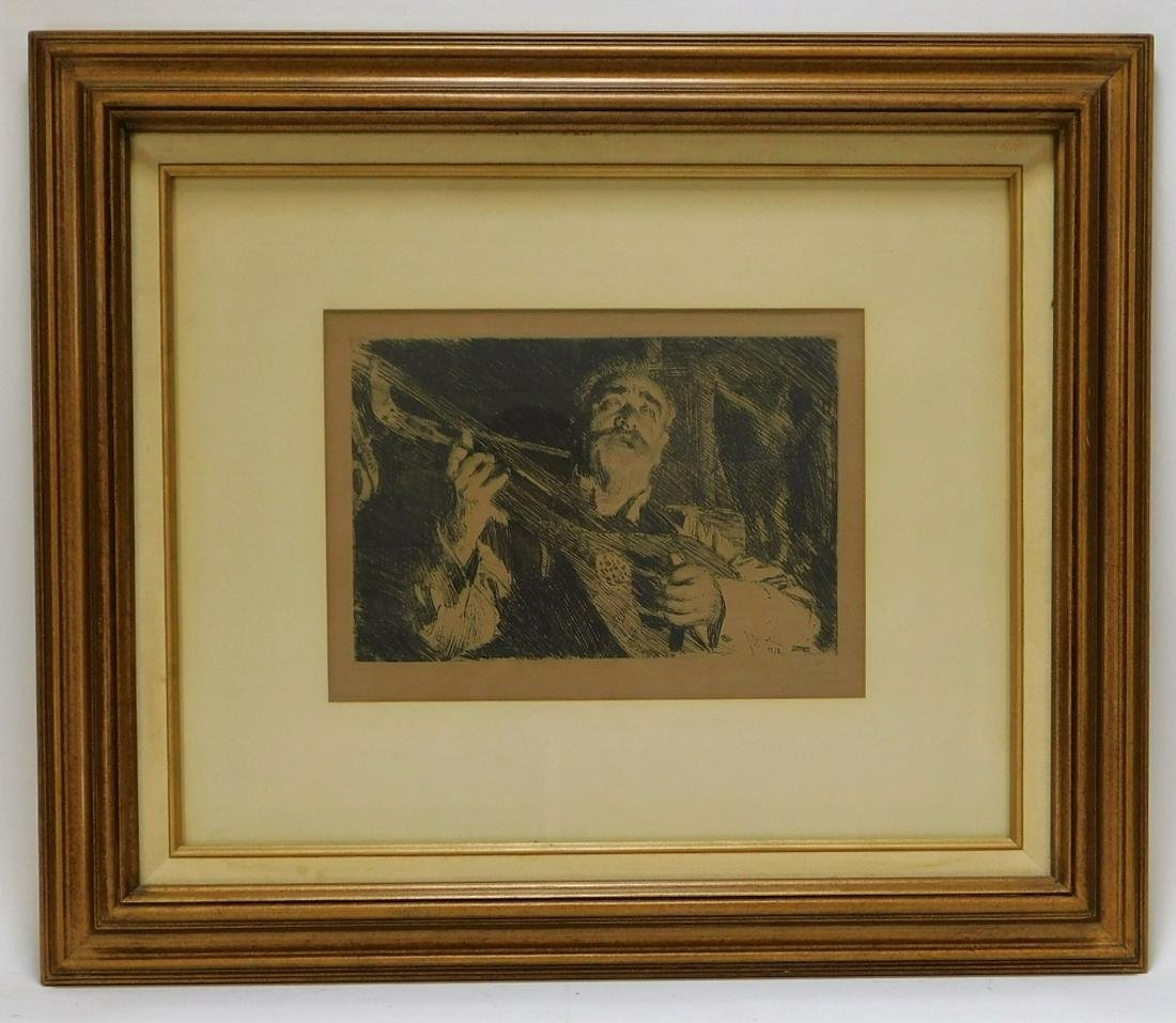Anders Zorn Vicke Guitar Man Portrait Etching