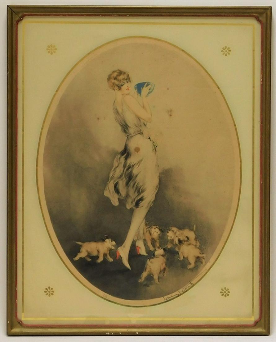 Louis Icart Art Deco Aquatint of Woman & Dogs