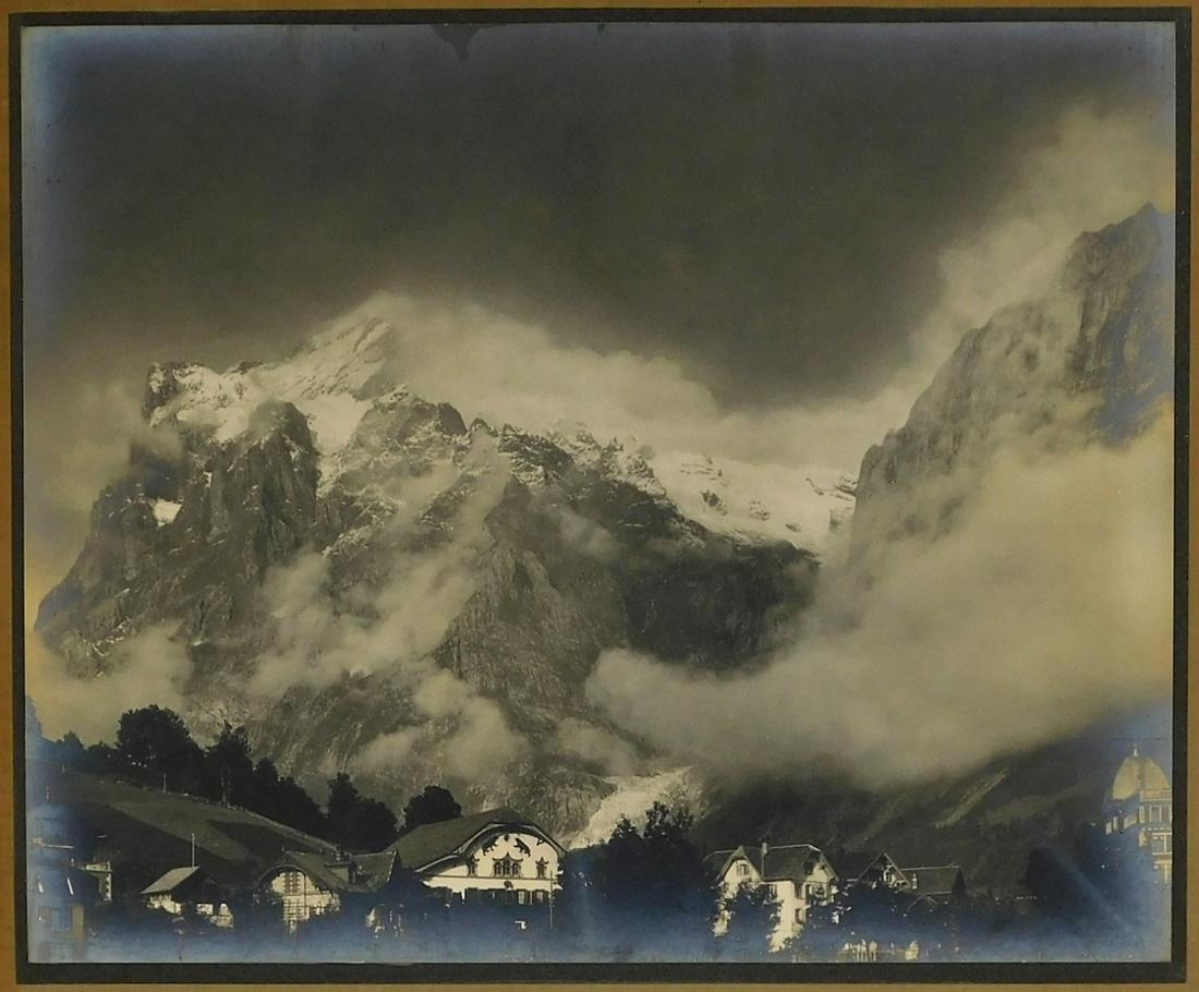 19C Wetterhorn Grindelwald Silver Tone Photograph