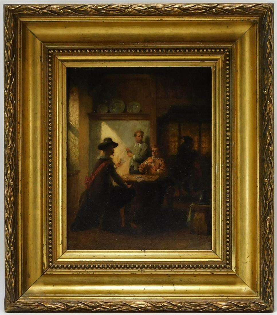 19C Dutch Genre Card Players Tavern O/B Painting