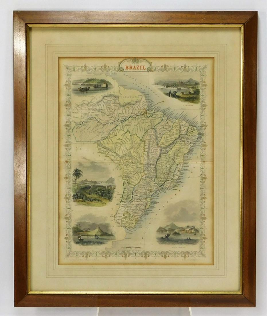 1851 J. Rapkin England Colored Map of Brazil