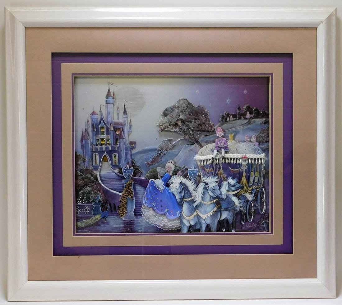 Walt Disney 3D Cut Lithograph of Cinderella Castle