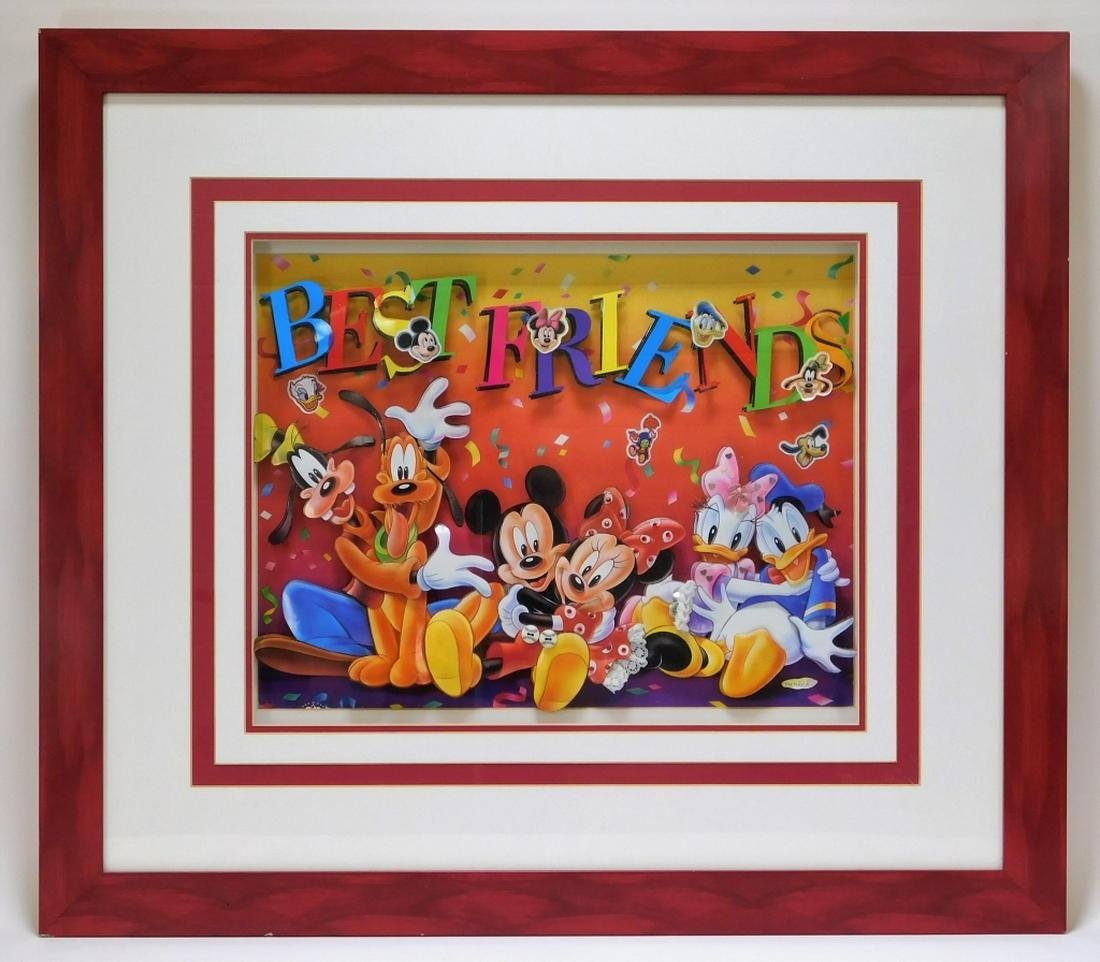 Walt Disney 3D Cut Lithograph Mickey and the Gang