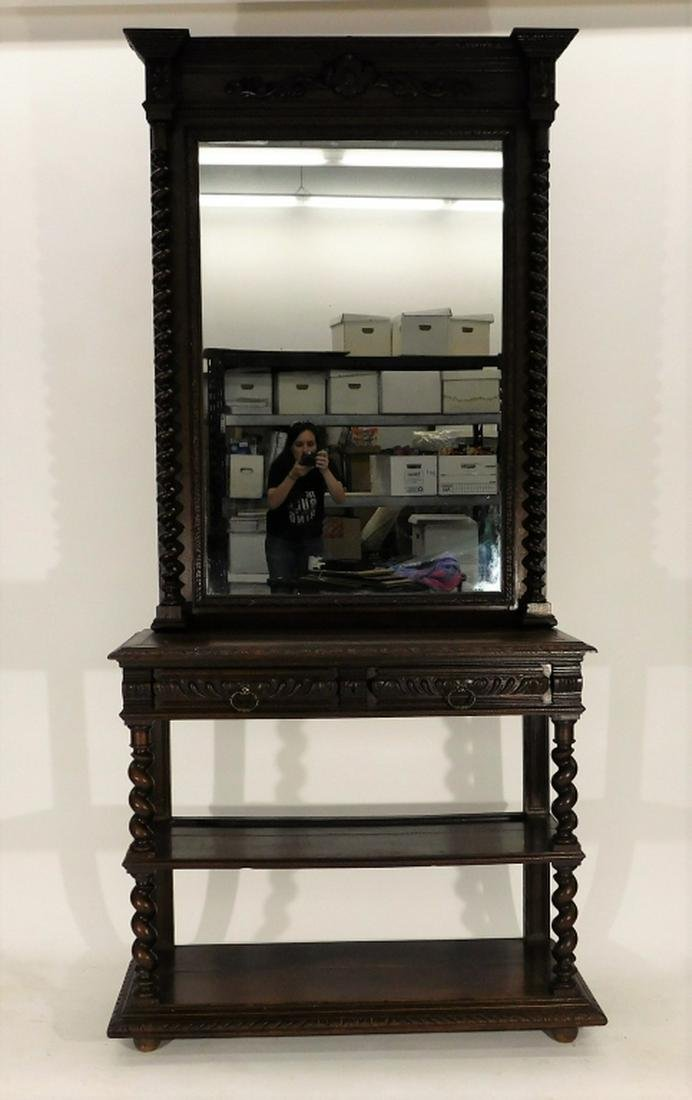 19C English Carved Oak Twist Column Mirror Server