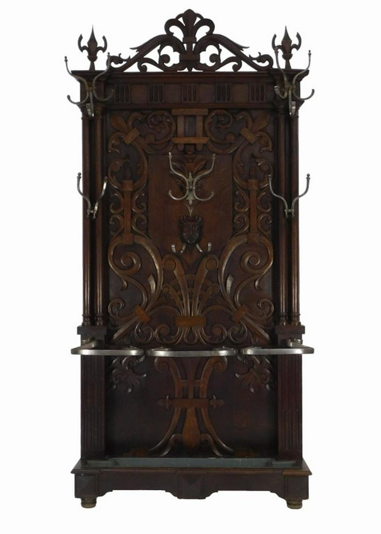 19C French Carved Oak Wood Cane Stand Hall Tree