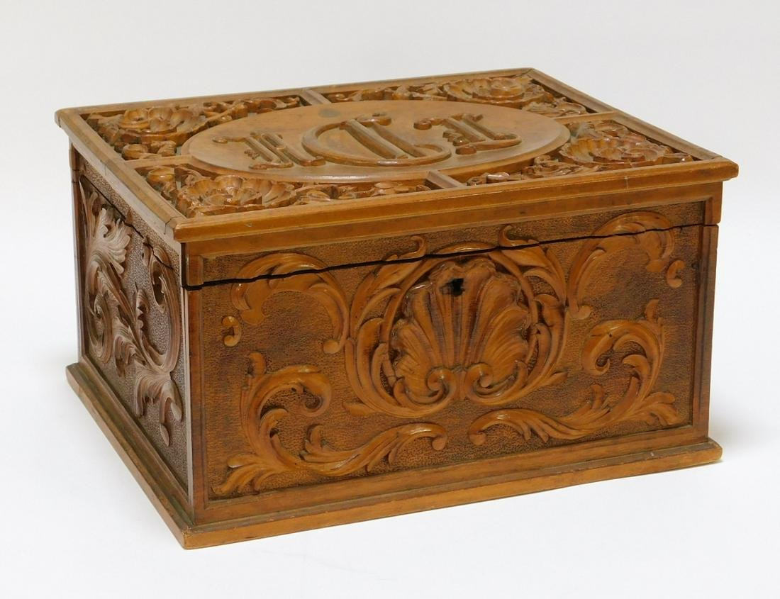 19C French Rococo Carved Wood Document Box