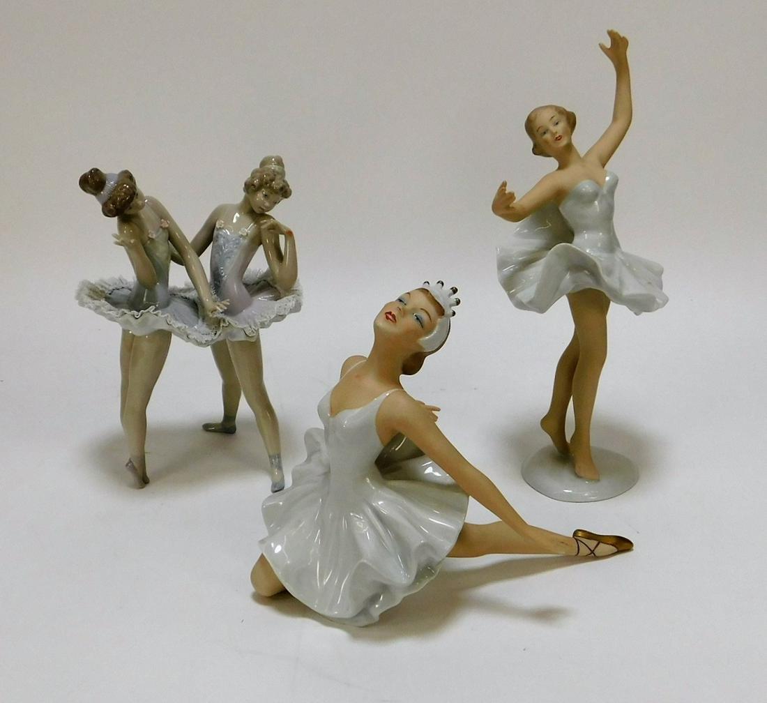 3PC Wallendorf & Lladro Porcelain Ballerina Group