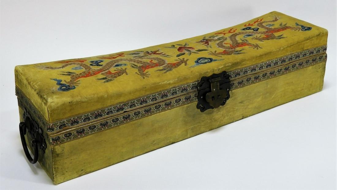 C.1900 Chinese Export Kesi Silk Dragon Pillow Box