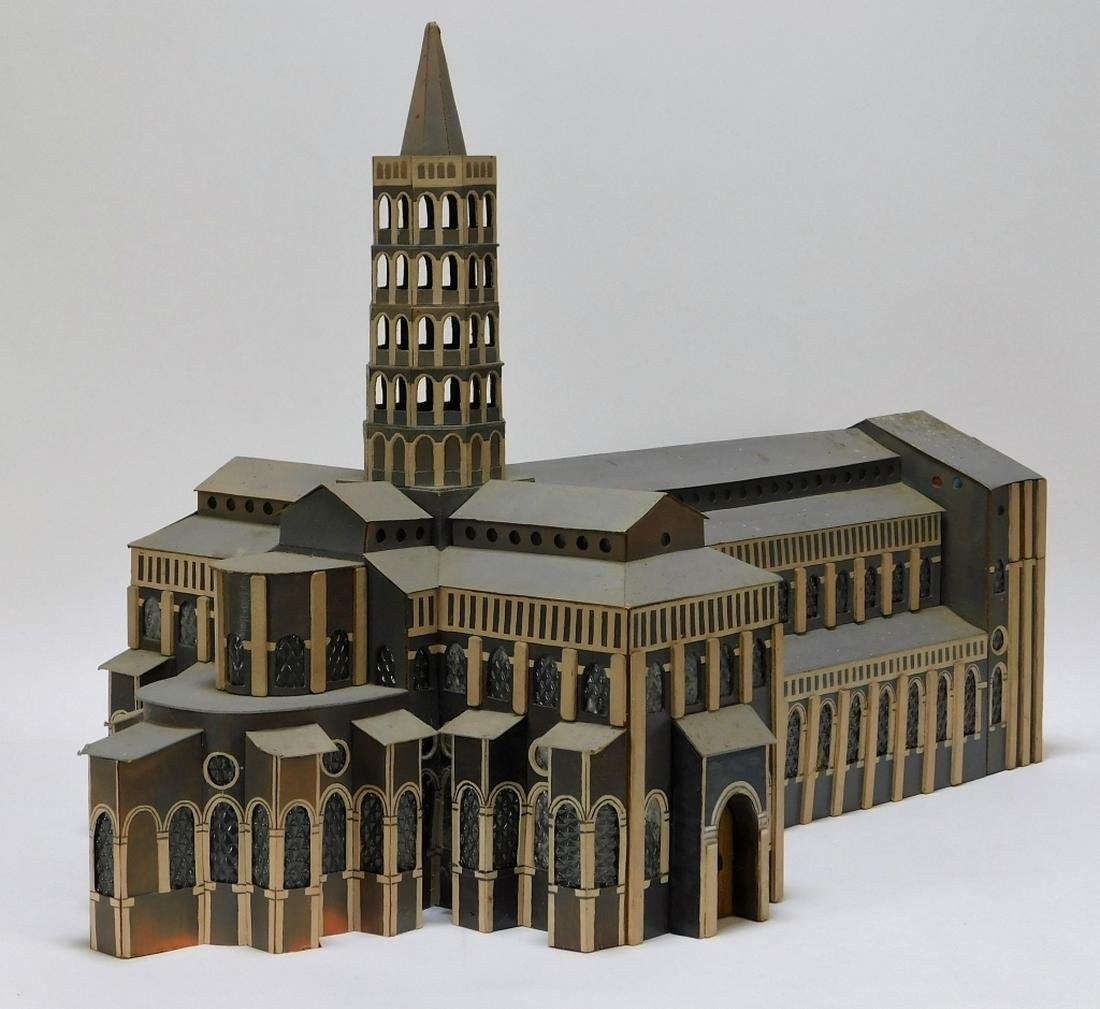 Vintage Architectural Wood Cathedral Church Model