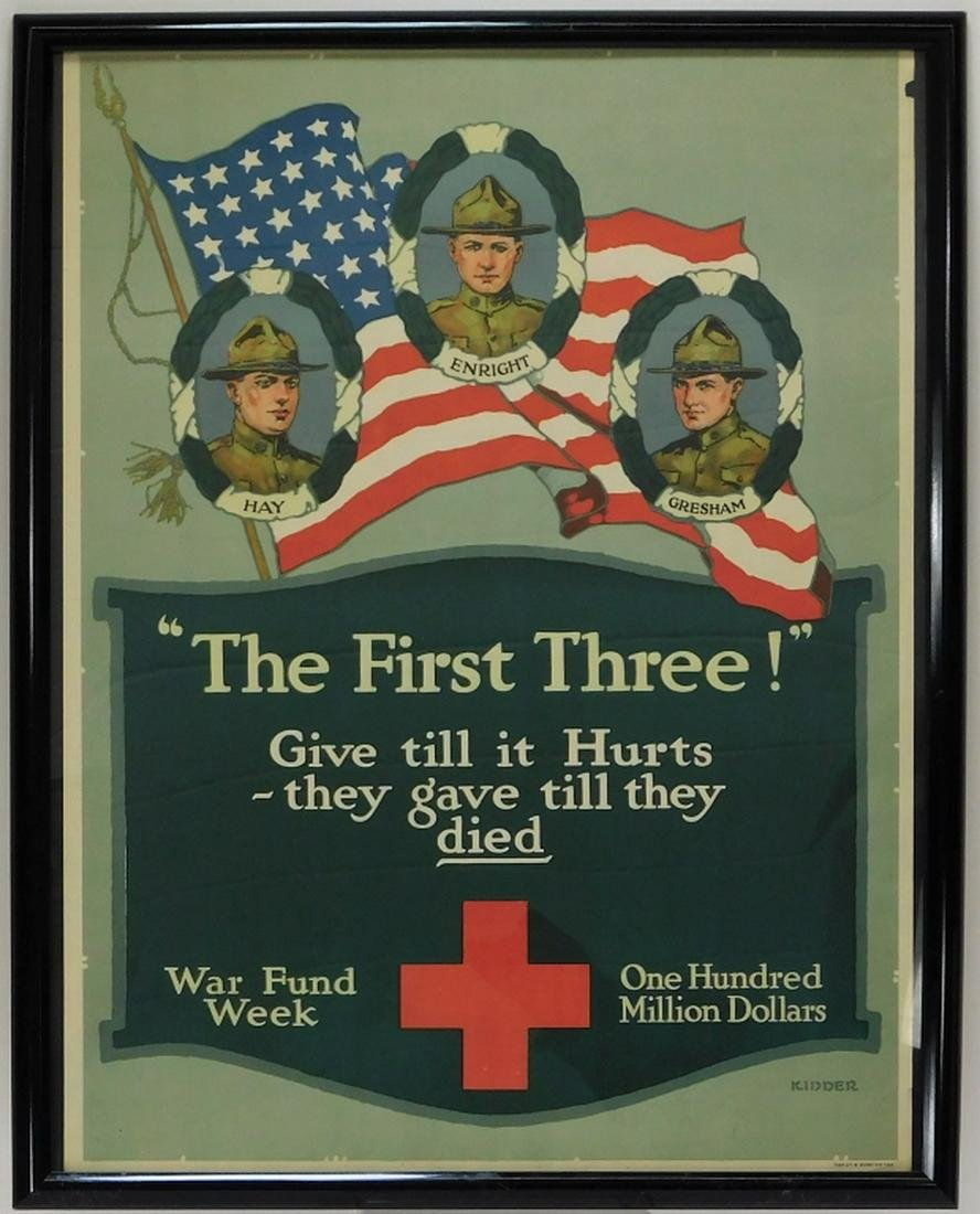 WWI Red Cross The First Three Military War Poster