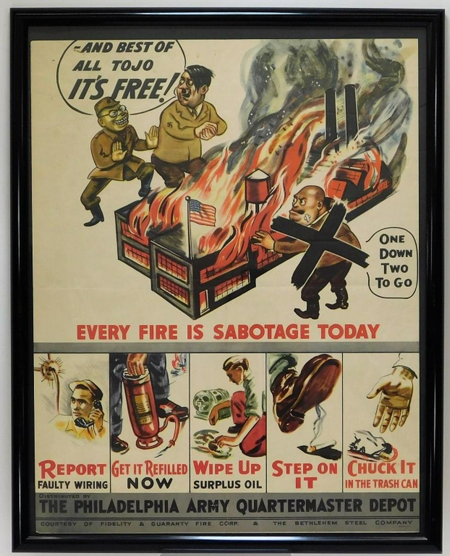 WWII Every Fire is Sabotage Hitler Tojo Poster