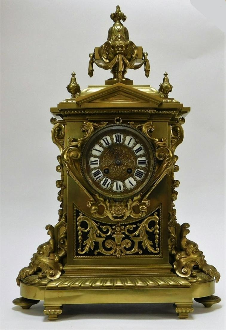 19C French Bronze Gothic Revival Mantle Clock