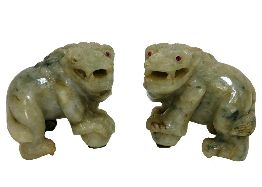 PR Chinese Qing Dynasty Carved Jadeite Foo Lions