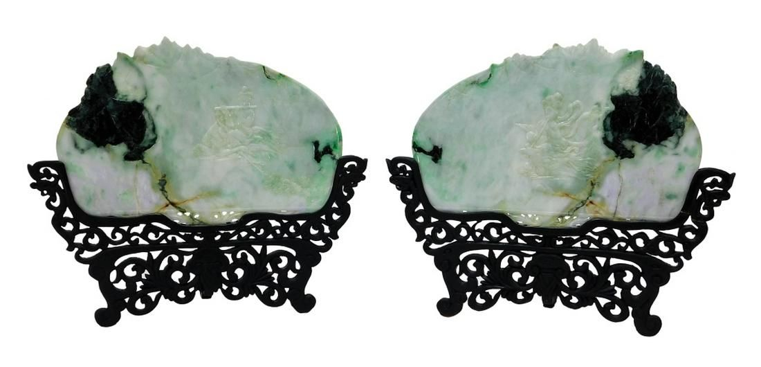 FINE PR Chinese Qing Carved Jadeite Table Screens