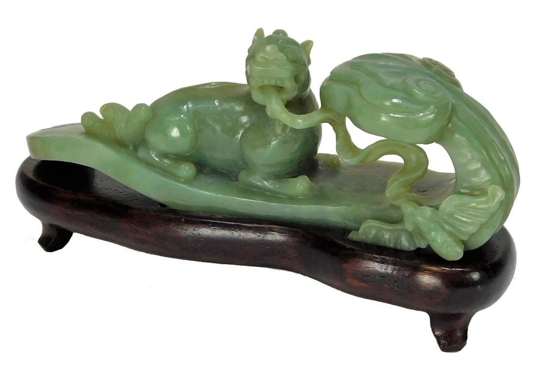 Chinese Carved Jadeite Ruyi Scepter Foo Dog Statue