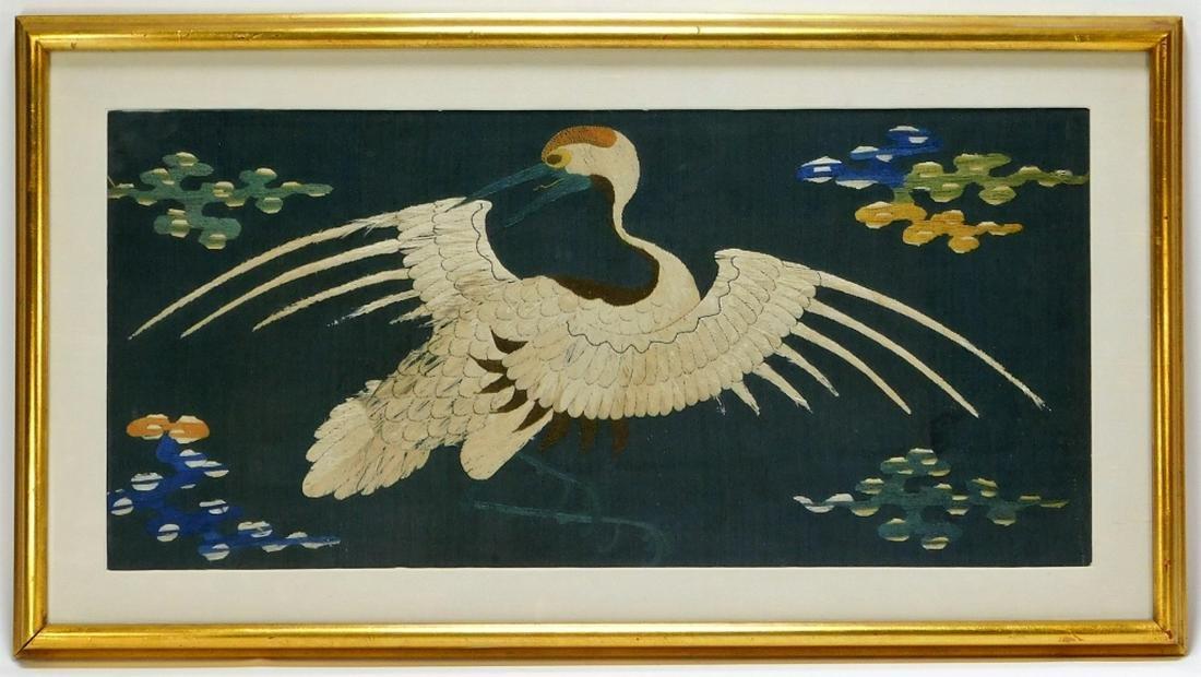 18C. Chinese Silk Kesi Textile Crane Embroidery