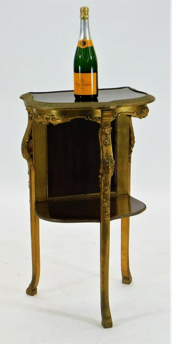 French Marquetry Inlaid Gilt Wood Display Table