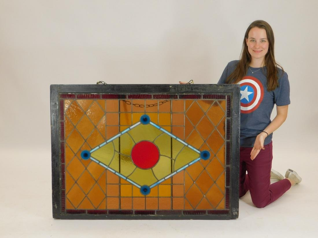 Victorian Iron Stained Glass Bull's Eye Window