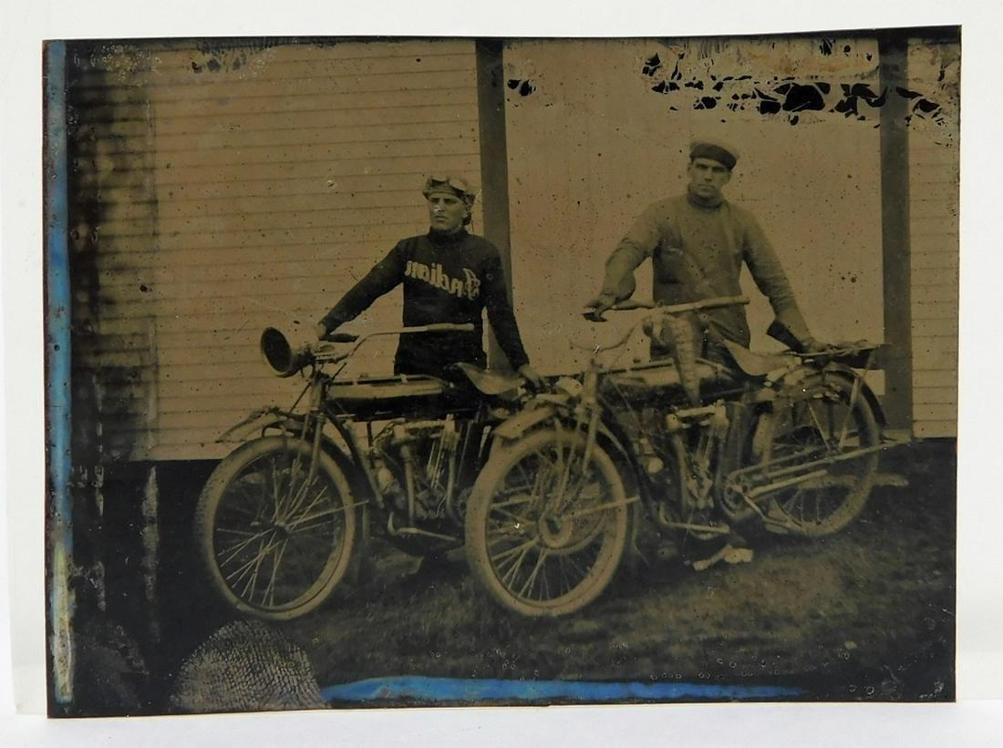 C.1900 Tin Type Photograph of Men & Motorcycles