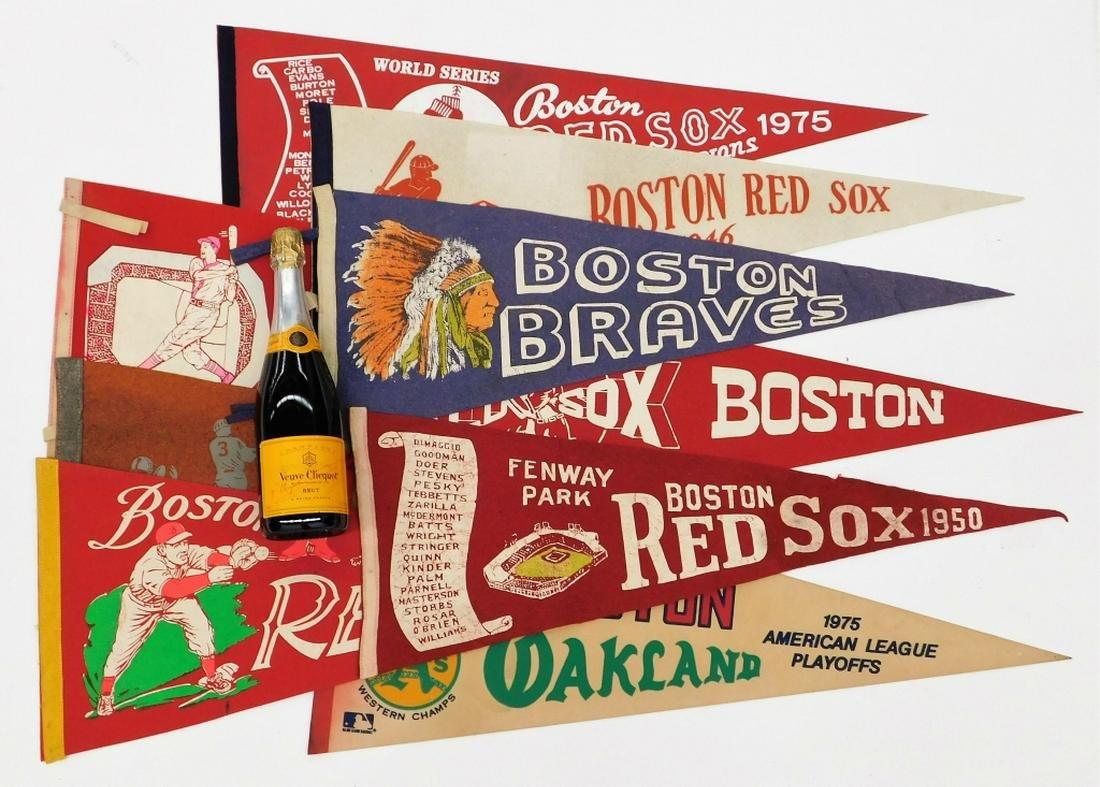 9 Vintage Boston Red Sox Baseball Pennant Flags