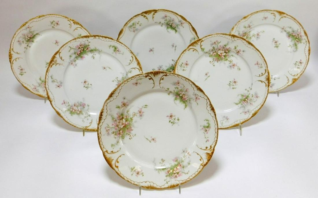 6PC Theodore Haviland Limoges Apple Blossom Plates