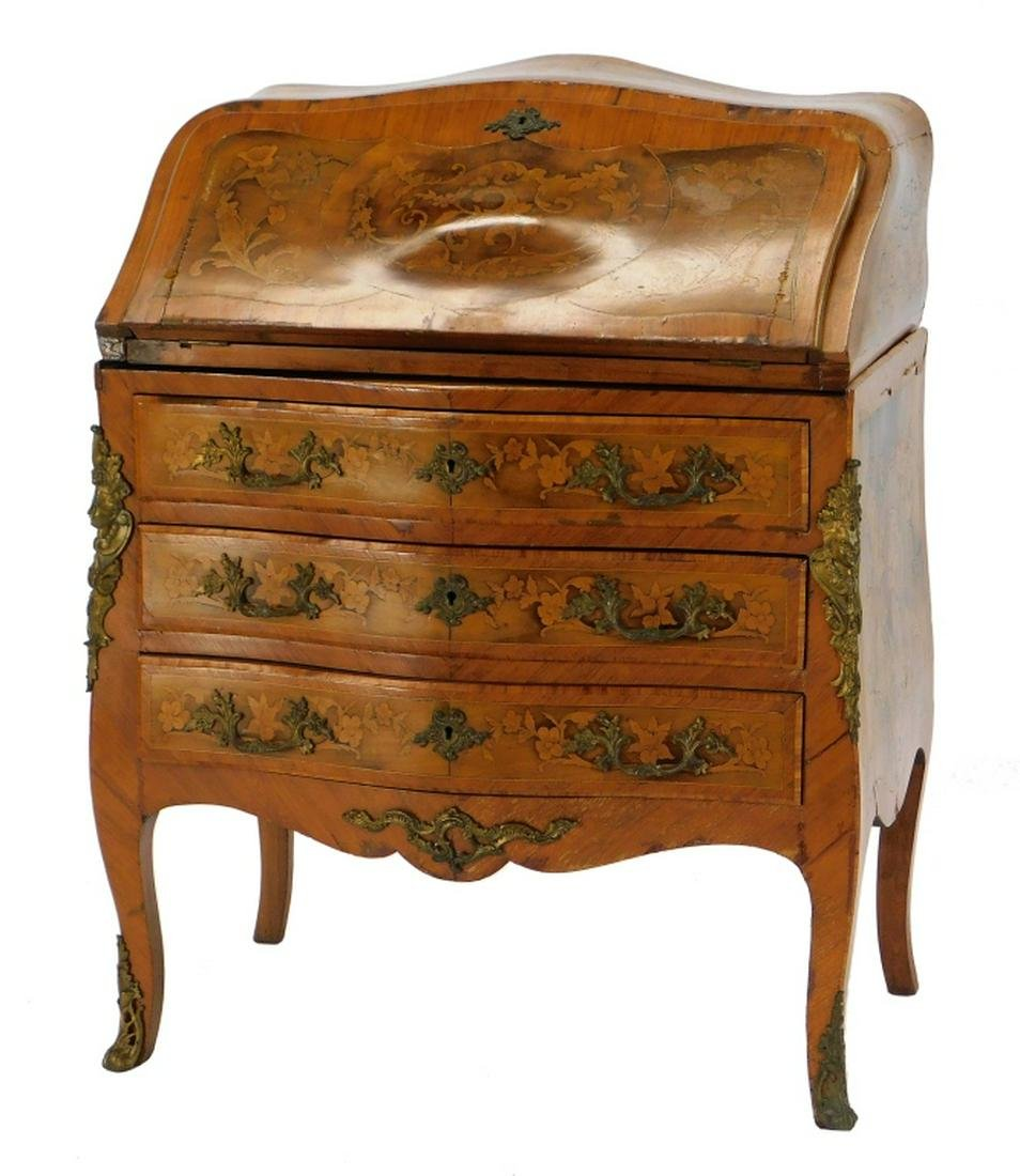 French Inlaid Marquetry Bombe Slant Front Desk