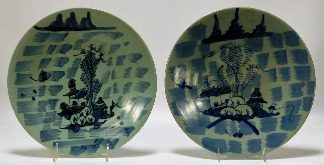 2PC Chinese Blue & White Porcelain Scenic Plates