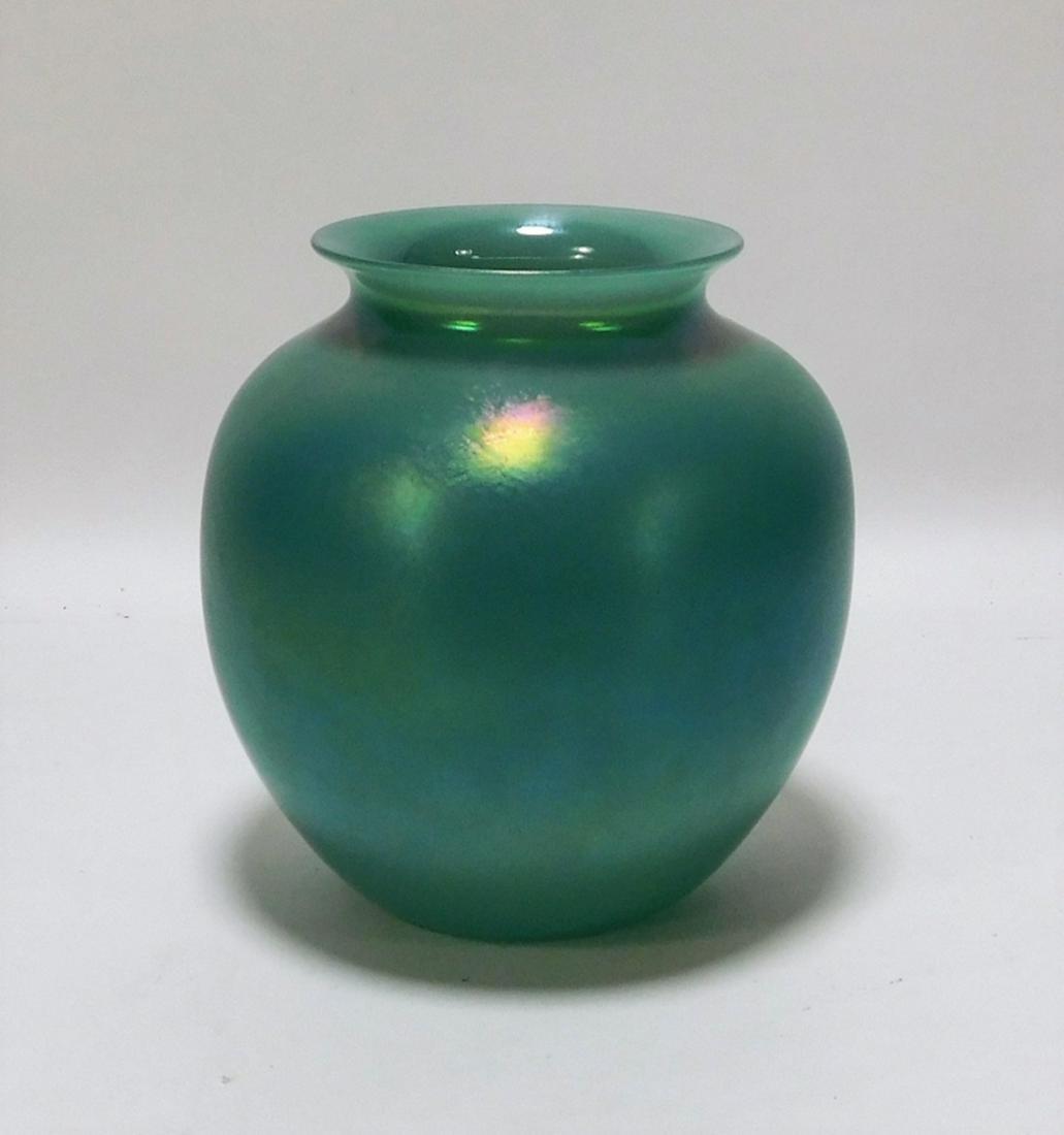 Joseph Morel Iridescent Blue Art Glass Vase