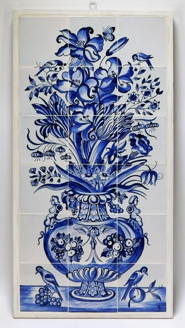 Contemporary Delft Ceramic Pottery Floral Tile