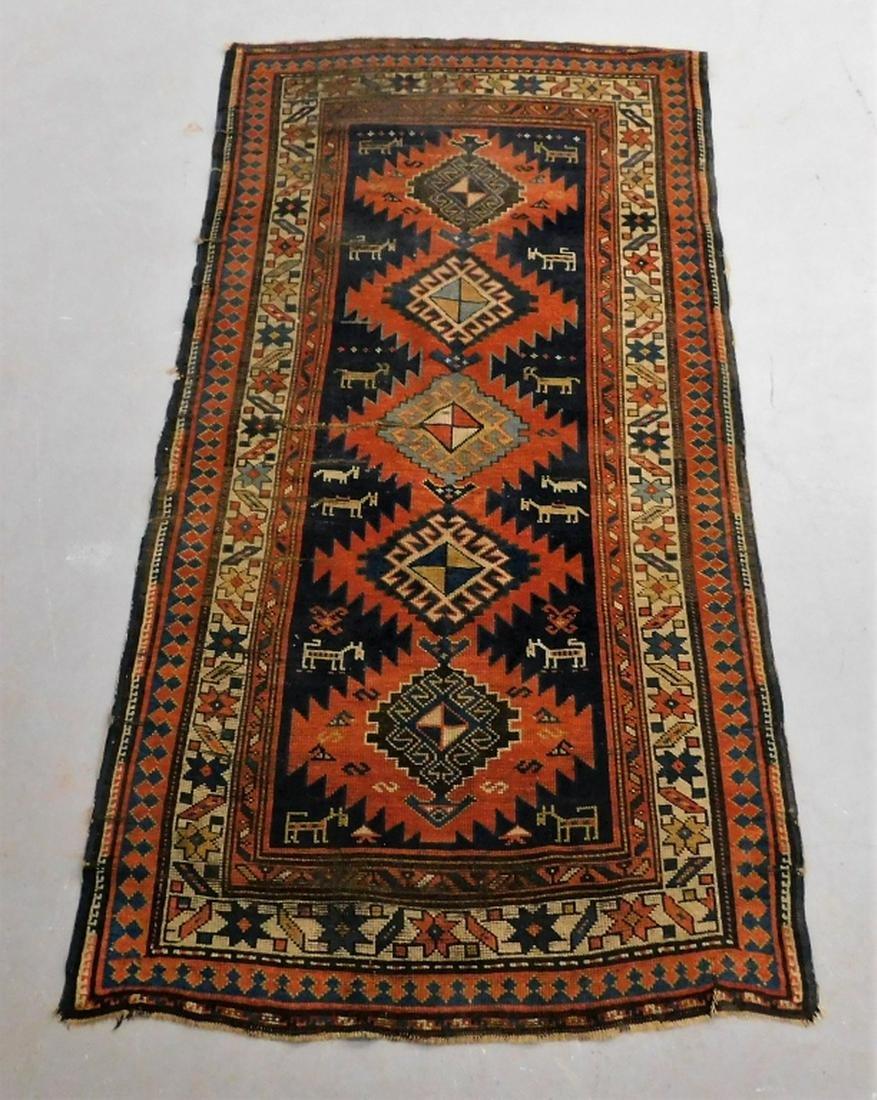 20C Caucasian Oriental Pictorial Animal Carpet Rug