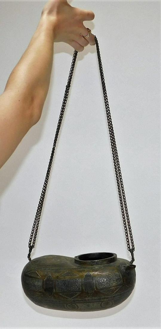 19C Arab Persian Koftgari Inlaid Hanging Oil Lamp