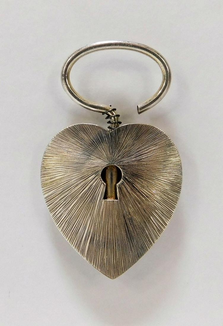 Cartier Sterling Silver Lock Heart Key Chain
