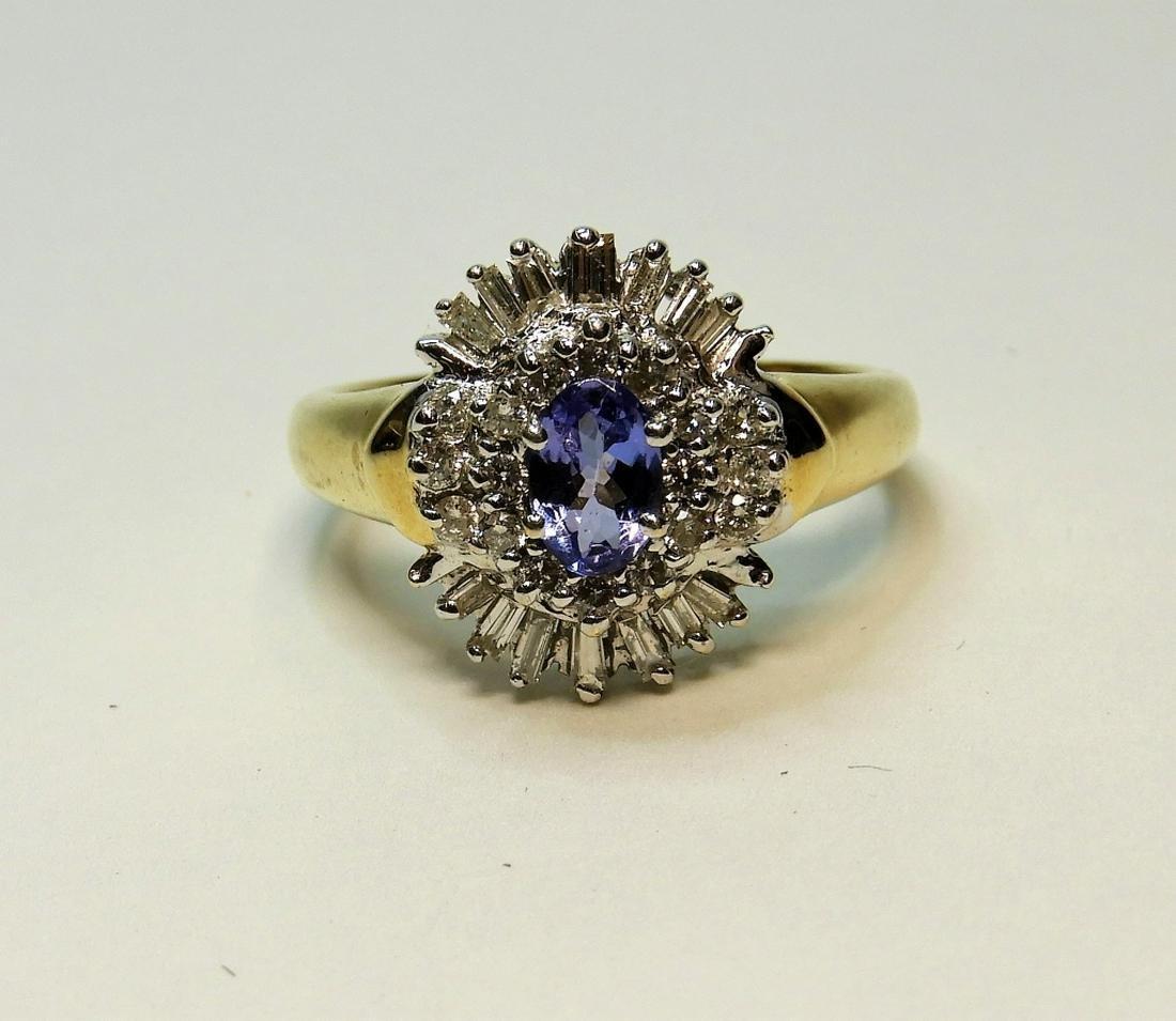 Estate 14K Gold Lady's Diamond & Zirconia Ring