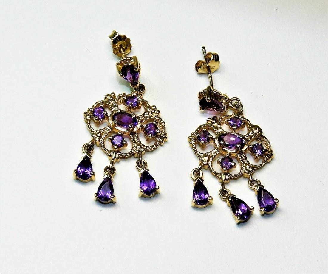 Estate 14K Gold Amethyst Fancy Drop Earrings
