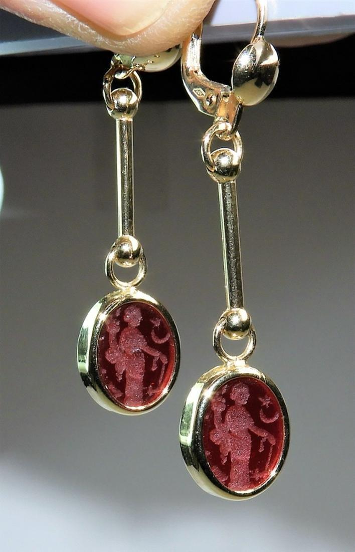 PR 14K Gold Intaglio Cut Red Cameo Glass Earrings