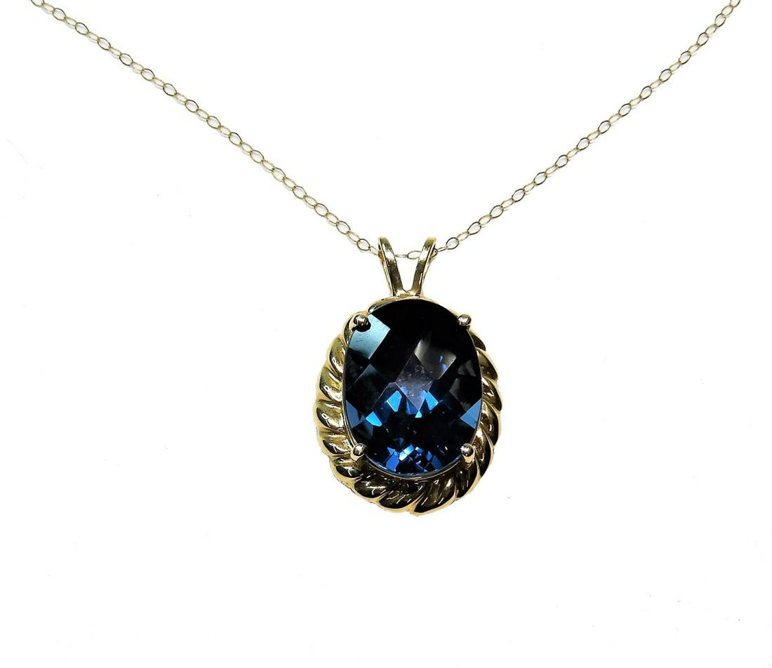 10K Yellow Gold Oval Spinel Solitaire Necklace