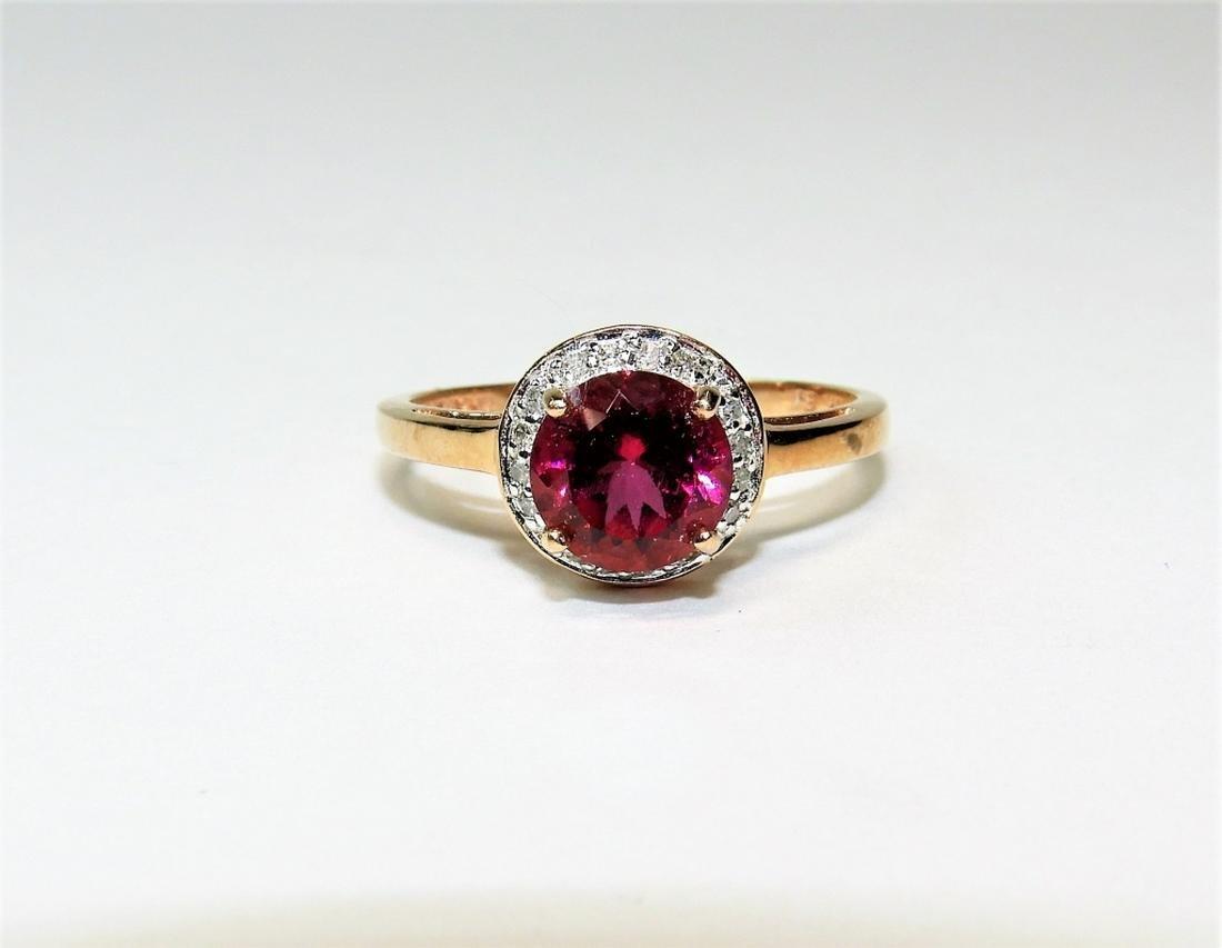 10K Rose Gold Lady's Rhodolite & Diamond Ring