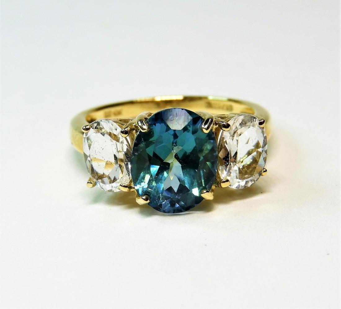 10K Yellow Gold Aqua Blue Topaz & Spinel Ring