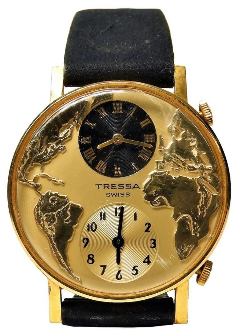 Swiss Tressa World Globe Map Men's Wristwatch