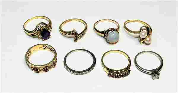 8 Vintage14K Gold Estate Diamond Stone Ring Group
