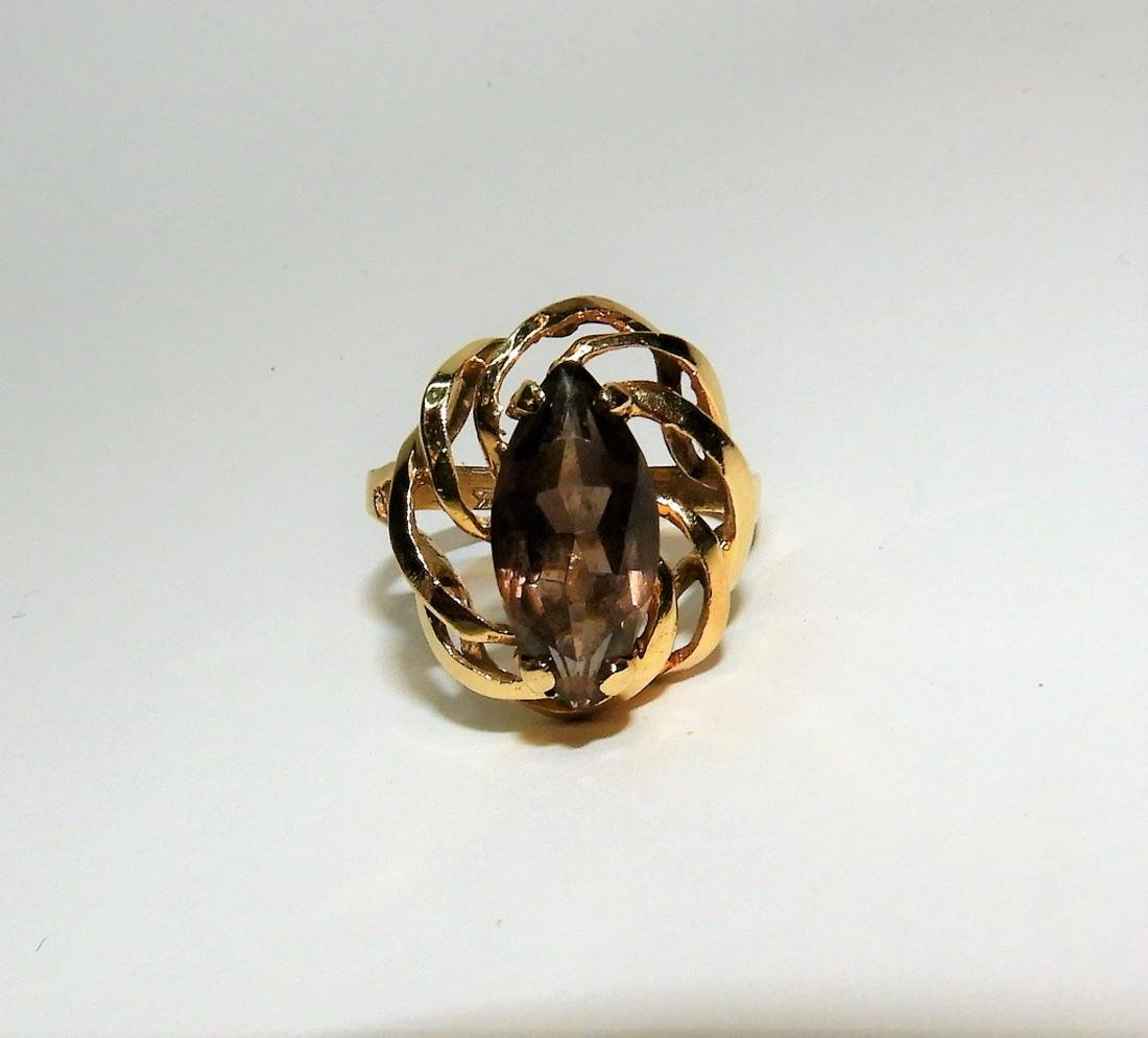14K Gold Marquis Cut Lady's Citrine Ring