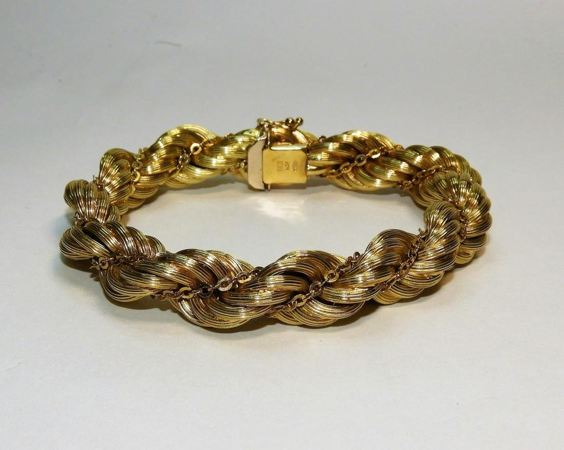 14K Gold Fancy Braided Rope Twist Bracelet 34.7g